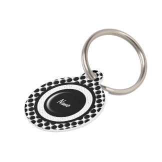 Diseño de cristal negro del punto del botón placa para mascotas