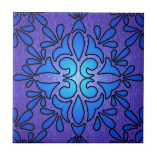 Diseño de cristal púrpura azul del estilo de Stain Azulejo Cuadrado Pequeño