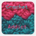 Diseño de CrochetAddict part1 C2C Calcomanías Cuadradas
