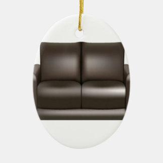Diseño de cuero del sofá de Brown Adorno Ovalado De Cerámica