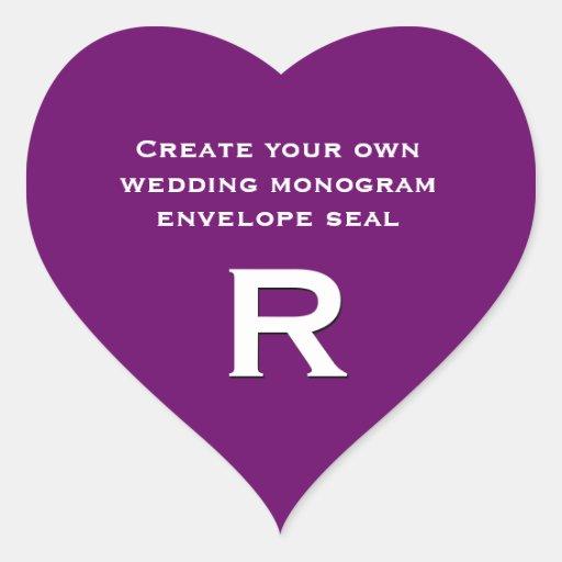 Diseño de DIY su monograma de encargo V18 del boda Pegatina En Forma De Corazón
