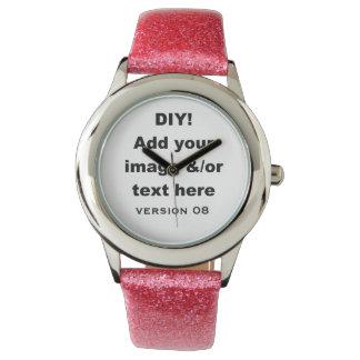 Diseño de DIY su propio rosa de encargo del brillo Relojes De Pulsera