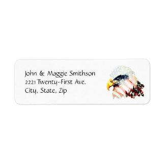 Diseño de Eagle calvo de la bandera americana de Etiqueta De Remitente