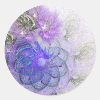 Diseño de encaje púrpura y azul del fractal de la pegatina redonda