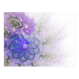 Diseño de encaje púrpura y azul del fractal de la postal