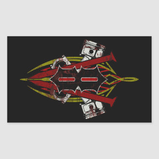 Diseño de encargo de la tela a rayas de V8 apenado Pegatina Rectangular