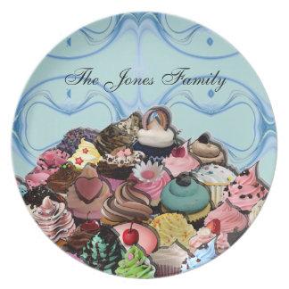 Diseño de encargo de las magdalenas (azul) plato para fiesta