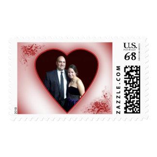 Diseño de encargo del boda con la foto y el sello postal