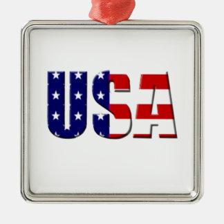 Diseño de encargo del logotipo de los E.E.U.U. Adorno Cuadrado Plateado