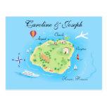 Diseño de encargo del mapa del boda - ilustrado postales