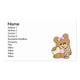 diseño de enseñanza del oso de peluche del bebé tarjetas de visita