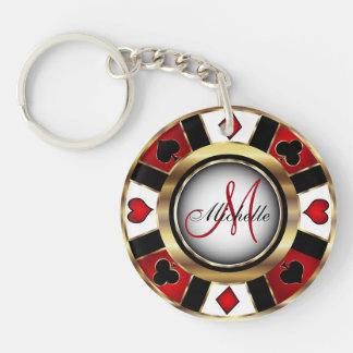 Diseño de ficha de póker del oro - monograma llavero redondo acrílico a doble cara