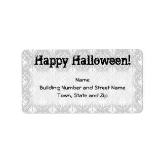Diseño de Halloween con el modelo gris del damasco Etiquetas De Dirección