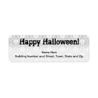 Diseño de Halloween con el modelo gris del damasco Etiqueta De Remite