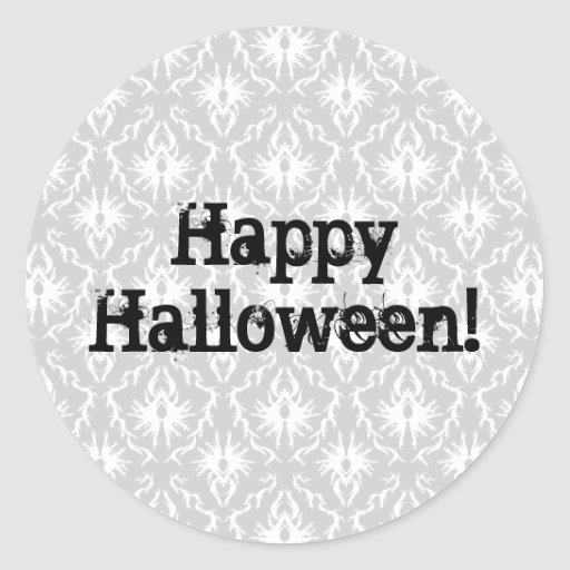 Diseño de Halloween con el modelo gris del damasco Pegatina Redonda
