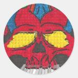 diseño de Halloween del cráneo Pegatina Redonda