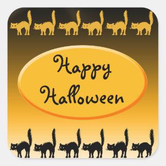 Diseño de Halloween del desfile del gato negro Pegatina Cuadrada