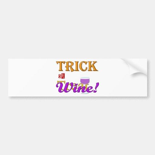 Diseño de Halloween del vino del truco O de la inv Pegatina Para Auto