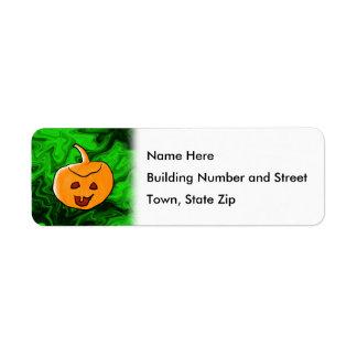 Diseño de Halloween en verde y naranja con la cala Etiquetas De Remite