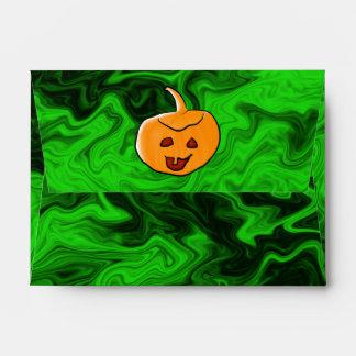 Diseño de Halloween en verde y naranja con la cala