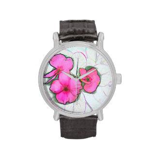 diseño de instalaciones floral del bosquejo rosado relojes de pulsera