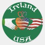 Diseño de Irlanda los E.E.U.U. Claddagh Etiquetas Redondas