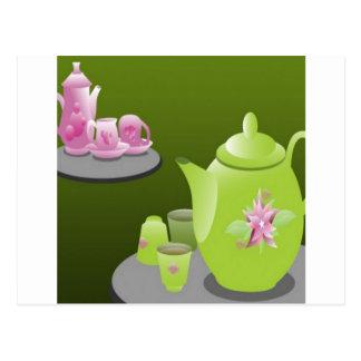 Diseño de juegos de té verde tarjeta postal