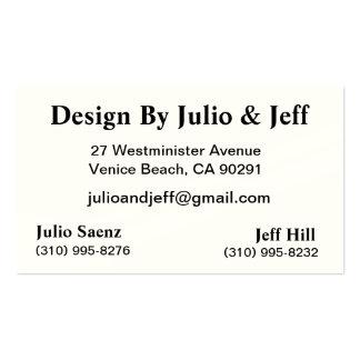 Diseño de Julio y de Jeff Tarjetas De Negocios