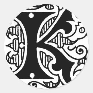 Diseño de K Pegatina Redonda
