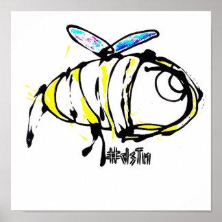 Diseño de la abeja de la impresión de la lona póster