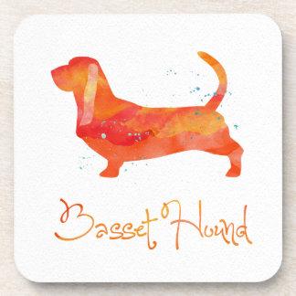 Diseño de la acuarela de Basset Hound Posavasos De Bebida