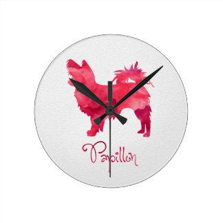 Diseño de la acuarela de Papillon Relojes De Pared