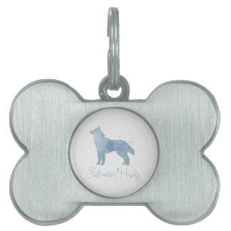 Diseño de la acuarela del husky siberiano placa de mascota