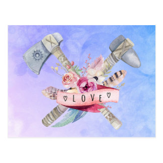 Diseño de la acuarela del martillo y de las flores tarjetas postales