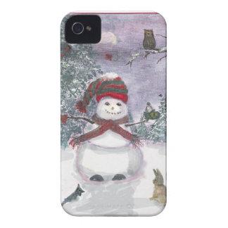 Diseño de la acuarela del muñeco de nieve y de los Case-Mate iPhone 4 carcasa