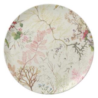 Diseño de la alga marina para el material de seda  plato para fiesta