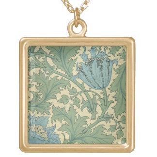 "Diseño de la ""anémona"" (materia textil) collar dorado"