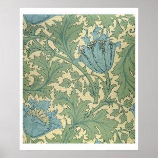 Diseño de la anémona materia textil posters