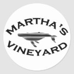 "Diseño de la ""ballena"" del Martha's Vineyard Etiqueta Redonda"