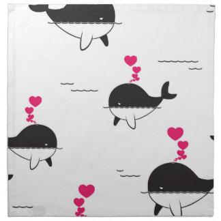Diseño de la ballena negra y blanca con los servilleta imprimida