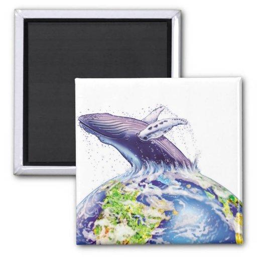 diseño de la ballena y de la tierra imán cuadrado