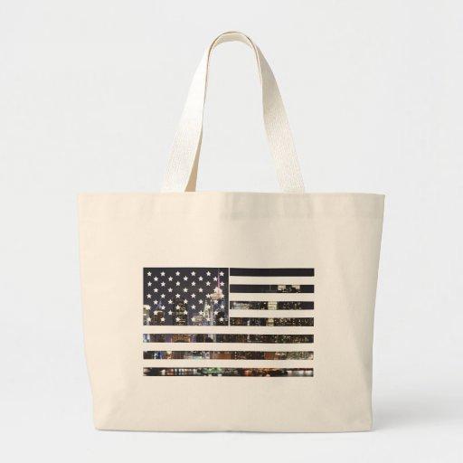 Diseño de la bandera americana bolsa lienzo