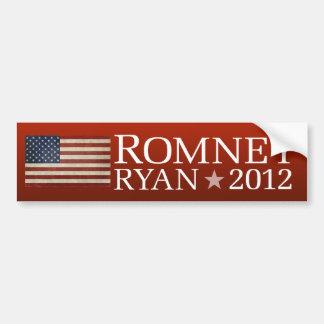 Diseño de la bandera americana de Mitt Romney Paul Pegatina De Parachoque