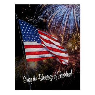 Diseño de la bandera americana y de los fuegos postales