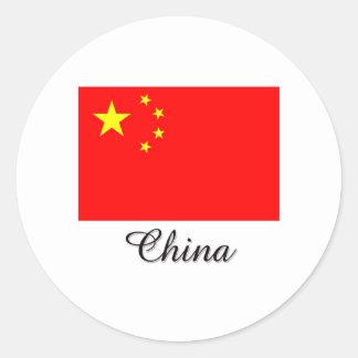 Diseño de la bandera de China Pegatina Redonda