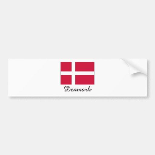 Diseño de la bandera de Dinamarca Etiqueta De Parachoque