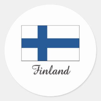 Diseño de la bandera de Finlandia Pegatinas Redondas