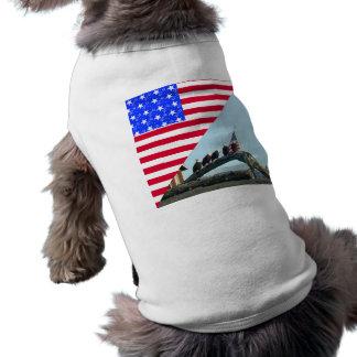 Diseño de la bandera de la libertad de Eagle calvo Playera Sin Mangas Para Perro