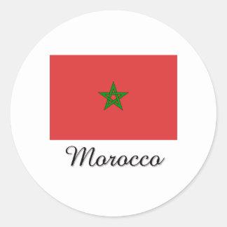 Diseño de la bandera de Marruecos Pegatina Redonda