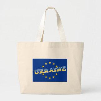 Diseño de la bandera de Ucrania y de unión europea Bolsa Tela Grande